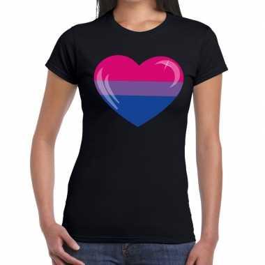 Bi hart gaypride zwart dames t-shirt kopen