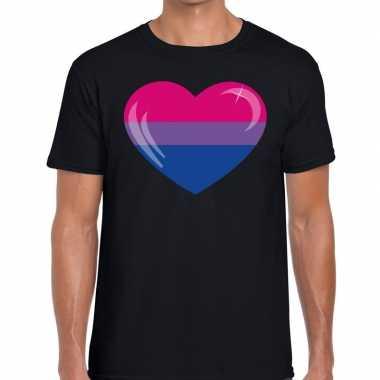 Bi hart gaypride zwart heren t-shirt kopen