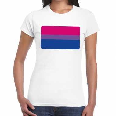 Bi vlag gaypride wit dames t-shirt kopen
