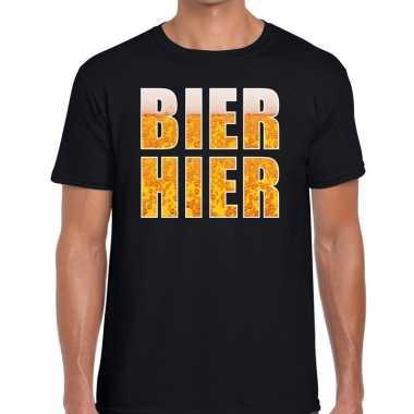 Bier hier tekst zwart heren t-shirt kopen