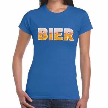 Bier tekst blauw dames t-shirt kopen