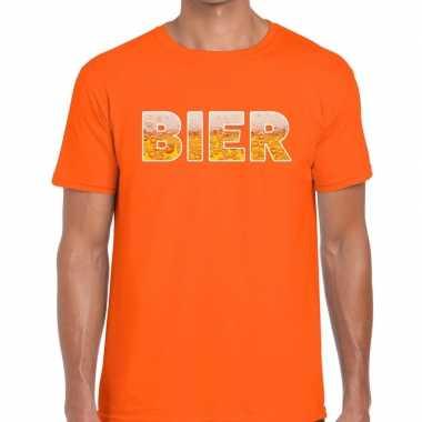 Bier tekst oranje heren t-shirt kopen