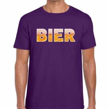 Bier tekst paars heren t-shirt kopen
