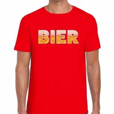 Bier tekst rood heren t-shirt kopen