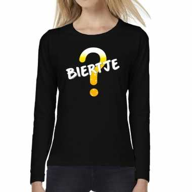Biertje tekst long sleeve zwart dames t-shirt kopen