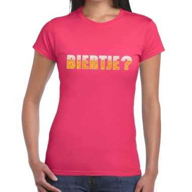Biertje tekst roze dames t-shirt kopen