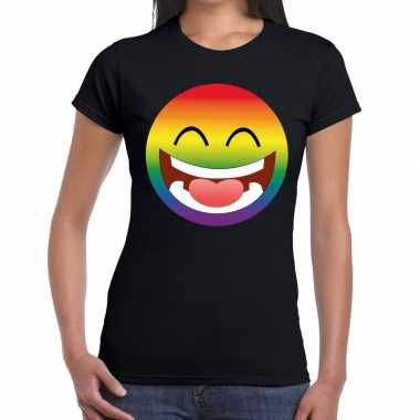 Big smiley/emoticon regenboog gaypride zwart dames t-shirt kopen