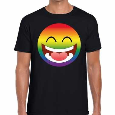 Big smiley/emoticon regenboog gaypride zwart heren t-shirt kopen