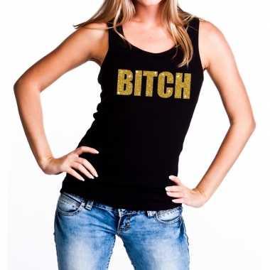 Bitch glitter tekst tanktop / mouwloos zwart dames t-shirt kopen