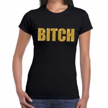 Bitch glitter tekst zwart dames t-shirt kopen