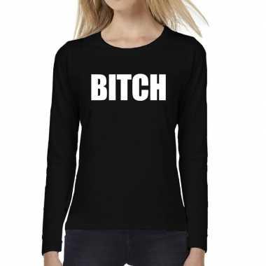 Bitch tekst long sleeve zwart dames t-shirt kopen