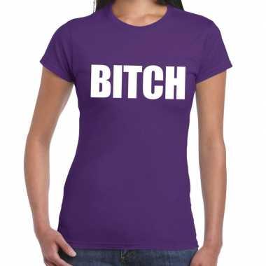 Bitch tekst paars dames t-shirt kopen