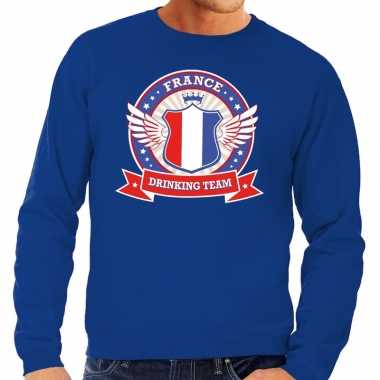 Blauw france drinking team sweater heren t-shirt kopen