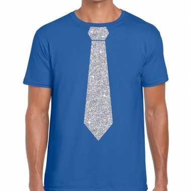 Blauw fun stropdas glitter zilver heren t-shirt kopen