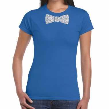 Blauw fun vlinderdas glitter zilver dames t-shirt kopen