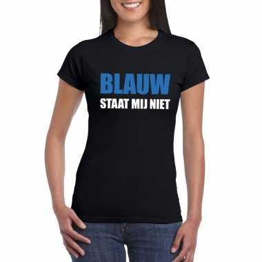 Blauw staat mij niet tekst zwart dames t-shirt kopen