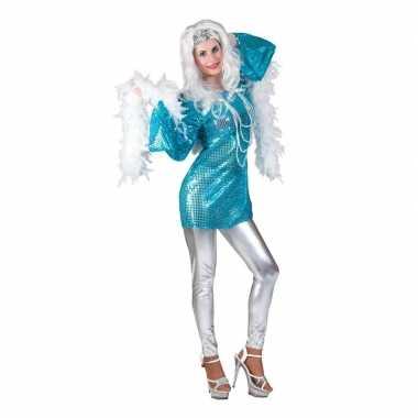 Blauwe disco queen seventies verkleed dames t-shirt kopen