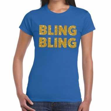 Bling bling glitter tekst blauw dames t-shirt kopen