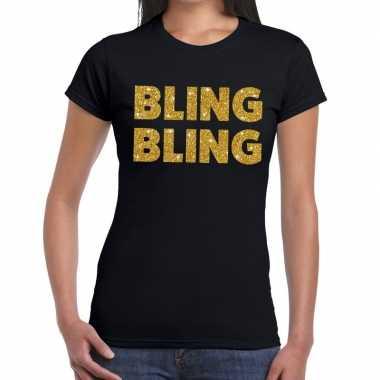 Bling bling glitter tekst zwart dames t-shirt kopen