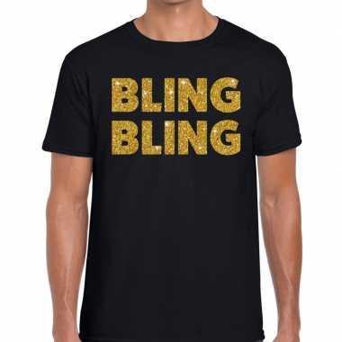Bling bling glitter tekst zwart heren t-shirt kopen