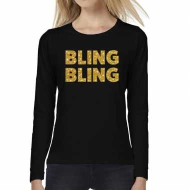 Bling bling goud glitter long sleeve zwart dames t-shirt kopen