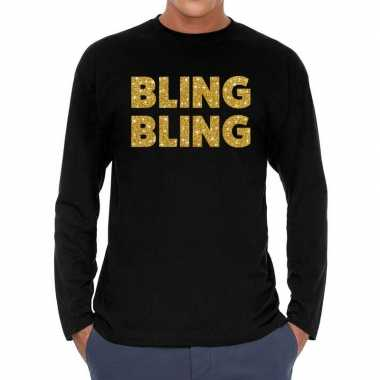 Bling bling goud glitter long sleeve zwart heren t-shirt kopen