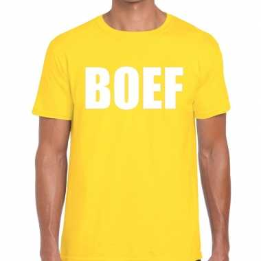 Boef tekst geel heren t-shirt kopen