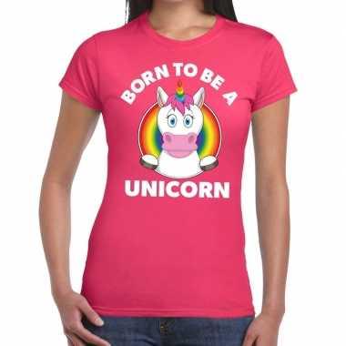 Born to be a unicorn gay pride roze dames t-shirt kopen
