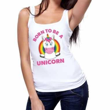 Born to be a unicorn gay pride tanktop wit dames t-shirt kopen
