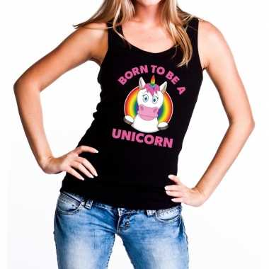 Born to be a unicorn gay pride tanktop zwart dames t-shirt kopen