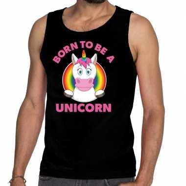 Born to be a unicorn gay pride tanktop zwart heren t-shirt kopen