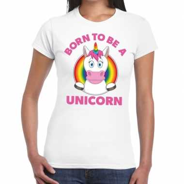 Born to be a unicorn gay pride wit dames t-shirt kopen