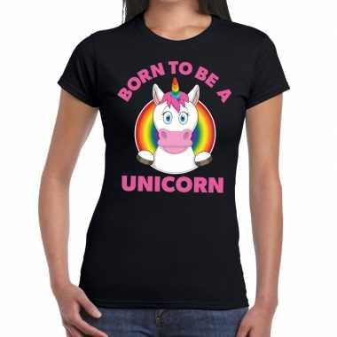 Born to be a unicorn gay pride zwart dames t-shirt kopen