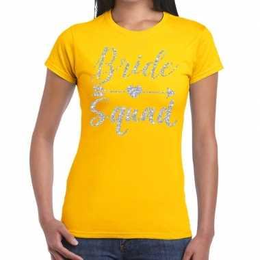 Bride squad cupido zilver glitter geel dames t-shirt kopen