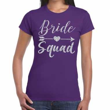 Bride squad cupido zilver glitter paars dames t-shirt kopen