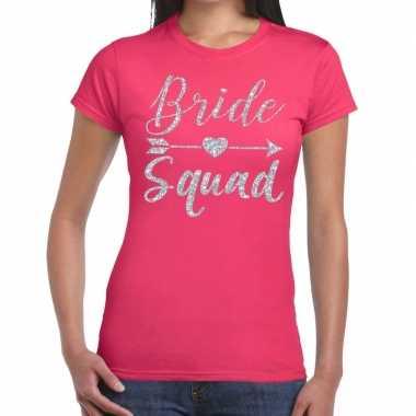 Bride squad cupido zilver glitter roze dames t-shirt kopen