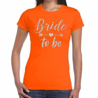 Bride to be cupido zilver glitter oranje dames t-shirt kopen