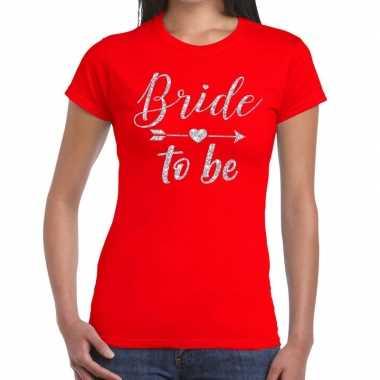 Bride to be cupido zilver glitter rood dames t-shirt kopen