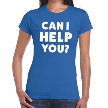 Can i help you beurs/evenementen blauw dames t-shirt kopen