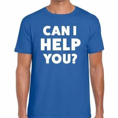 Can i help you beurs/evenementen blauw heren t-shirt kopen