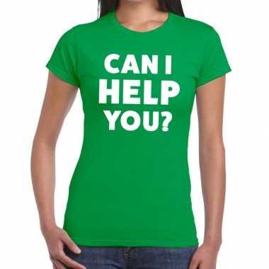 Can i help you beurs/evenementen groen dames t-shirt kopen