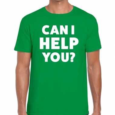 Can i help you beurs/evenementen groen heren t-shirt kopen