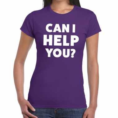 Can i help you beurs/evenementen paars dames t-shirt kopen