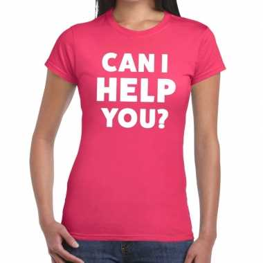 Can i help you beurs/evenementen roze dames t-shirt kopen
