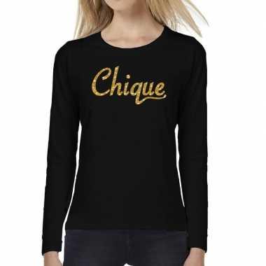 Chique goud glitter tekst long sleeve zwart dames t-shirt kopen