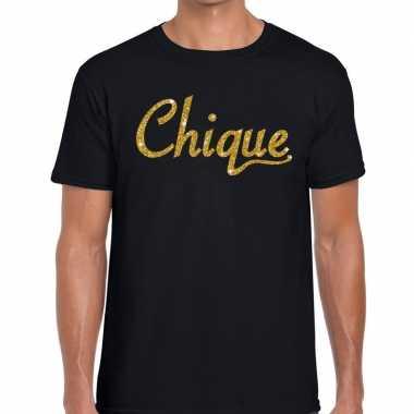Chique goud glitter tekst zwart heren t-shirt kopen