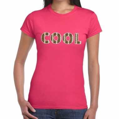 Cool tekst roze dames slangenprint t-shirt kopen