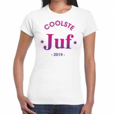 Coolste juf cadeau wit dames t-shirt kopen