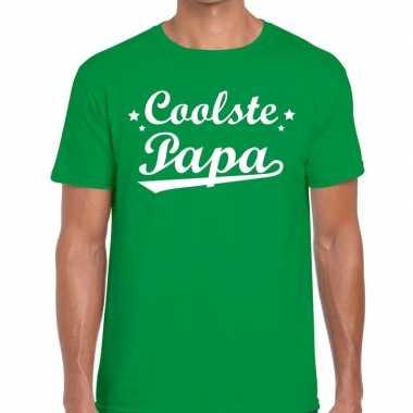 Coolste papa cadeau groen heren t-shirt kopen