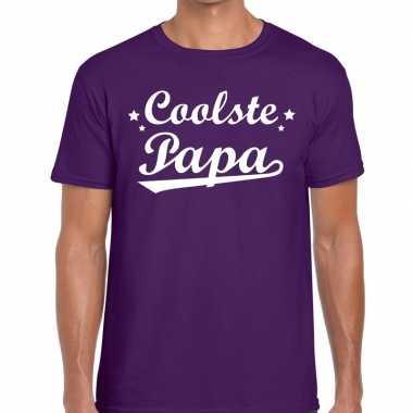 Coolste papa cadeau paars heren t-shirt kopen